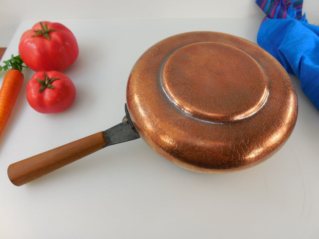 Spring Culinox Switzerland Fondue Pot - Copper Stainless Teak Handle  Unused