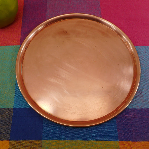 "Spring Culinox Switzerland 9.25"" Copper Tray - Fondue Chafing Under Plate"