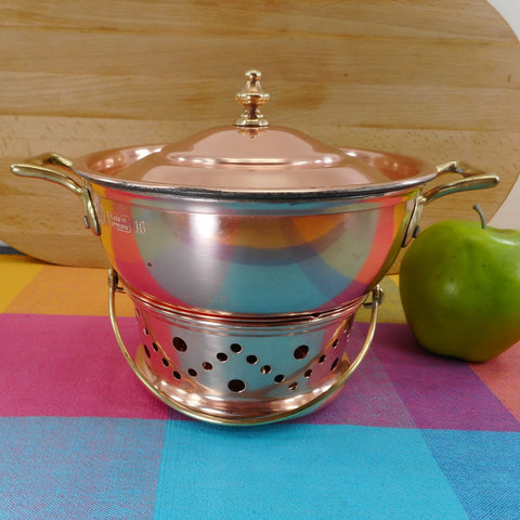 Christian Wagner Germany Small 1 Quart Chafing Pan Warmer Stand Copper Tin Brass Cookware