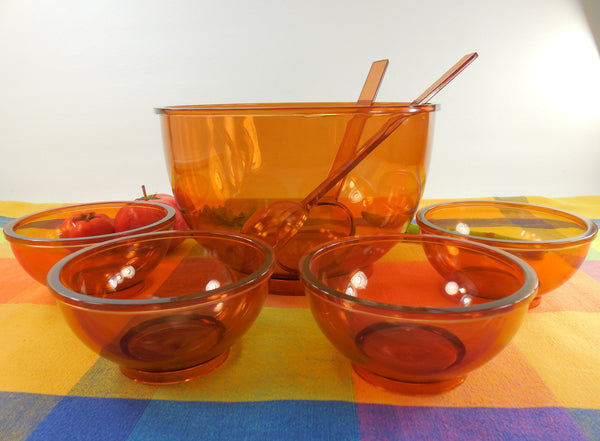 Dansk Designs Denmark - Gunnar Cyren 1970s - Amber Orange Salad Fruit 5 Bowl Set - Plastic Melamine
