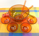 Dansk Designs Denmark - Gunnar Cyren 1970s - Amber Orange Salad Fruit 5 Bowl Set - Plastic Melamine... top view