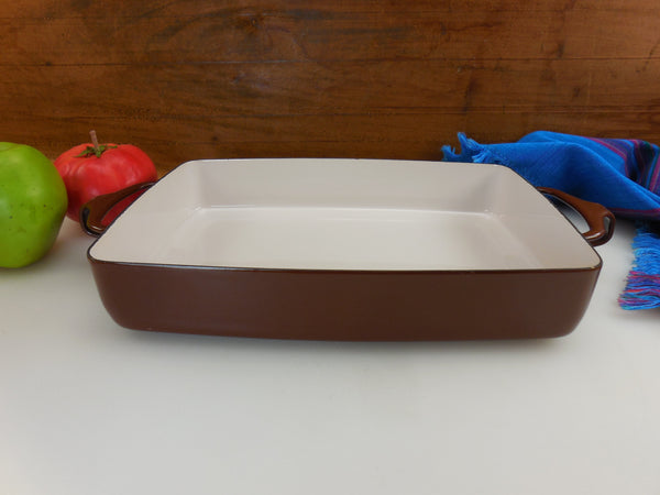 Dansk France - Unused Enamelware Brown 8x 10.5 Casserole Baking Pan - Kobenstyle Quistgaard Vintage Cookware