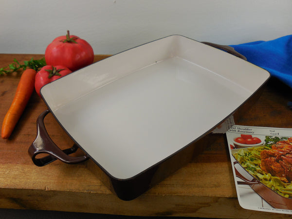 Vintage Dansk France - Enamelware Brown Small Casserole Baking Pan