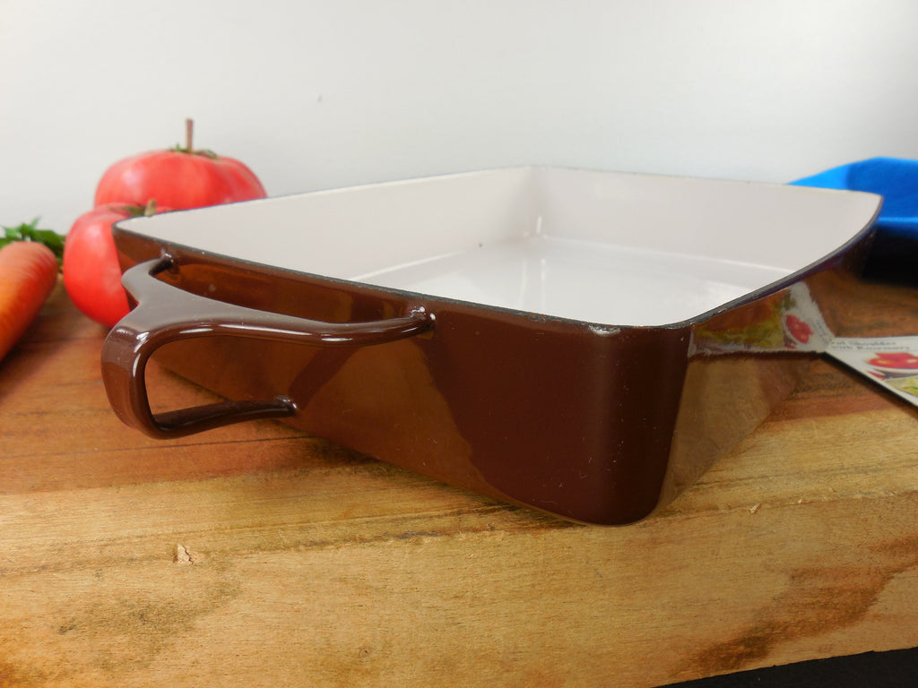 Vintage Dansk France - Enamelware Brown Small Casserole Baking Pan Side View
