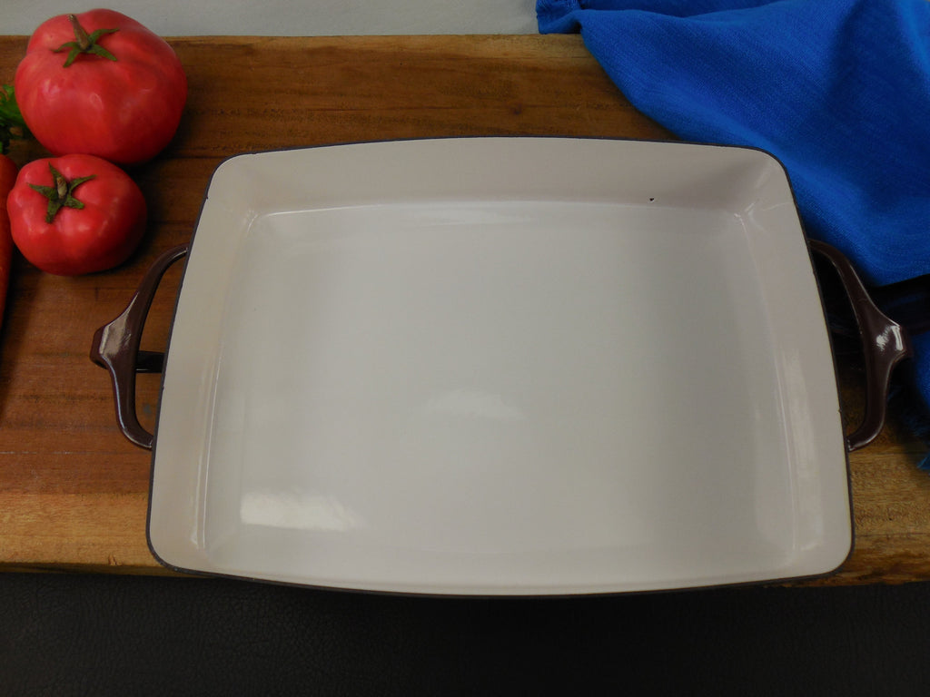 Vintage Dansk France - Enamelware Brown Small Casserole Baking Pan Interior View 2
