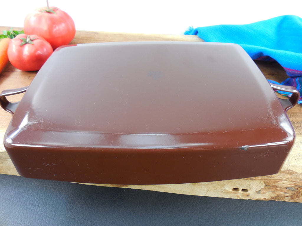 Vintage Dansk France - Enamelware Brown Small Casserole Baking Pan Bottom View 2