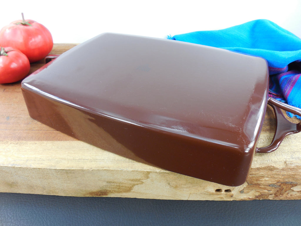 Vintage Dansk France - Enamelware Brown Small Casserole Baking Pan Bottom View 1