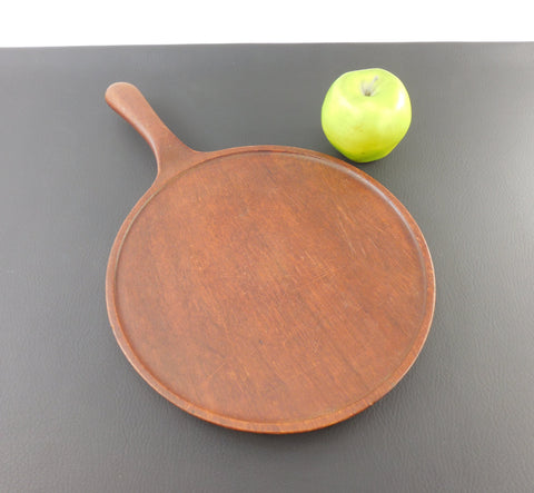 Vintage Danish Modern Teak Wood - Round Cutting Board Serving Tray with Handle Feet