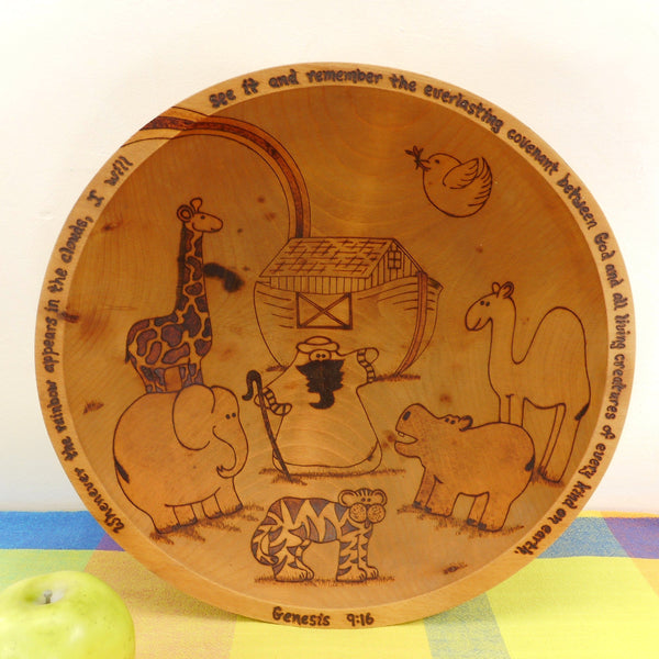 DW Delach Signed Pyrography Maple Wood Dough Bowl - Genesis 9:16 Noah's Ark