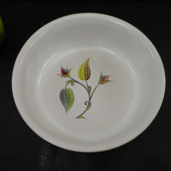 "Denby England Stoneware Spring Pattern 7.5"" Bowl - Signed Albert College Grey White Flowers"