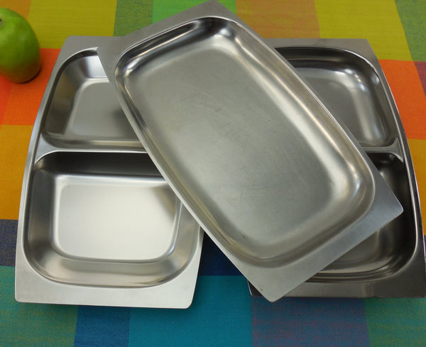 Denmark Sweden Stainless Trio Danish Modern Trays Divided Serving Dishes - Arthur Salm & Other