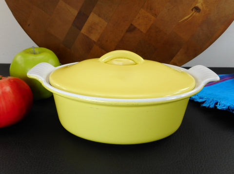 Descoware Belgium Bright Yellow Enamel Cast Iron #16 Oval Casserole Pot Lid