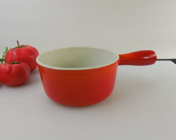 Vintage Descoware Belgium 3/4 Quart Saucepan - Flame Red Orange Enamel Cast Iron
