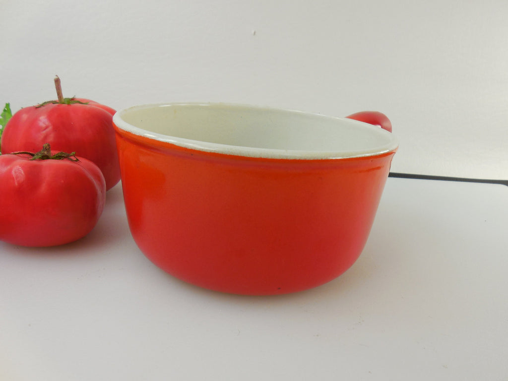 Vintage Descoware Belgium 3/4 Quart Saucepan - Flame Red Orange Enamel Cast Iron Side View