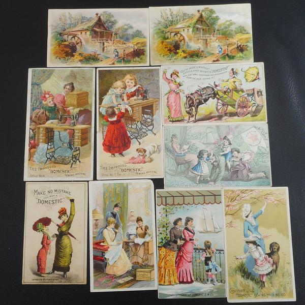 Antique Trade Cards Domestic Sewing Machine Co. Advertising - 10 Lot