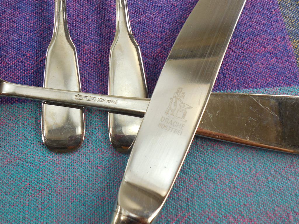 Drache Rocroni Flatware - Solingen Germany Rostfrei Stainless... 27 Pieces Knives Forks Spoons - logo mark