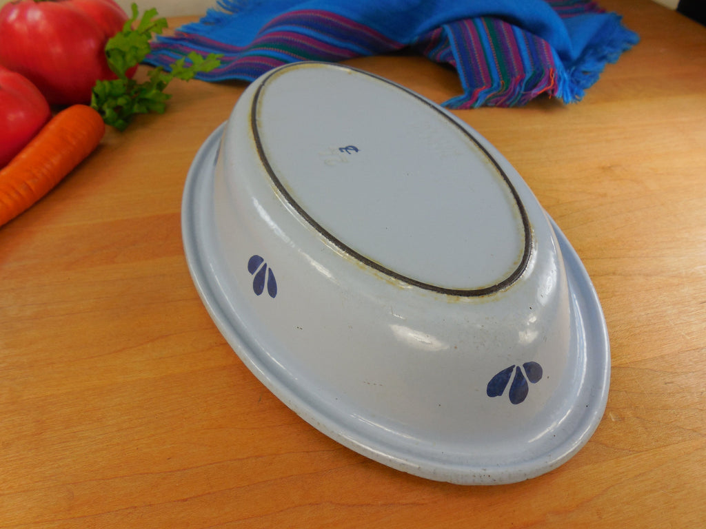 Dru Holland Cast Iron Enamel - Vintage Oval Au Gratin Pan Dish Casserole - Blue Tulip #24 bottom side