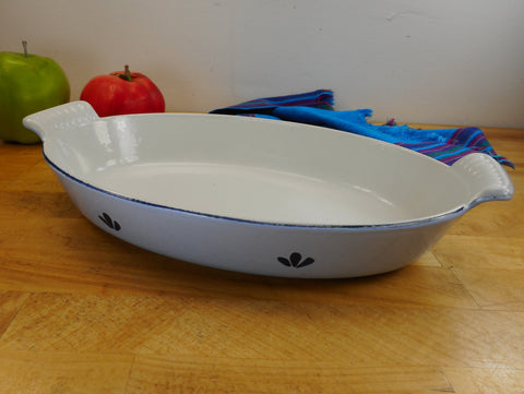 Dru Holland Cast Iron Enamel - MCM Oval Au Gratin Pan Dish Roaster - Blue Tulip #26