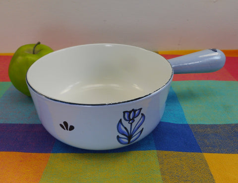 Dru Holland Cast Iron Enamel - 1-3/4 Quart Saucepan Pot & Lid - Blue Tulip 18cm