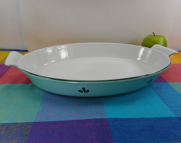 Dru Holland Cast Iron Enamel - Oval Au Gratin Pan Dish Roaster Green Tulip - #36 Large 10x14