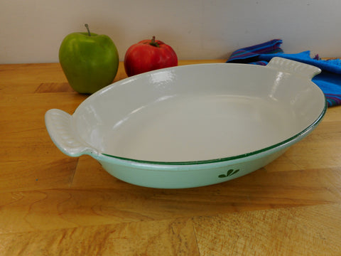 Dru Holland Cast Iron Enamel - Vintage Oval Au Gratin Pan Dish Roaster - Green Tulip #26