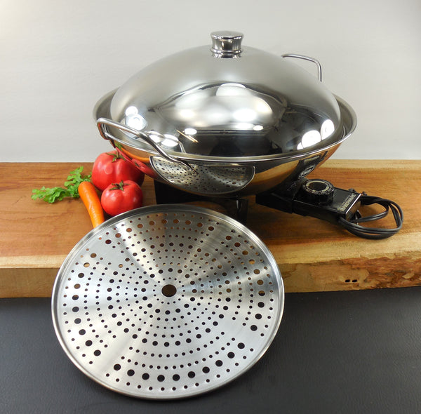 Vintage Farberware Stainless Electric Wok Model 343A