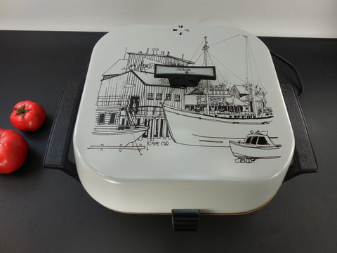 SOLD... Rare Sunbeam Cape Cod Wharf Boat Docks - Electric Skillet Fry Pan - Mid Century Era Signed