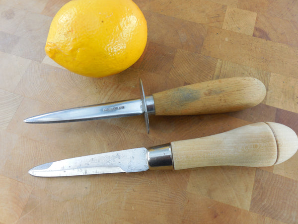 Ontario Knife Co. USA & Unbranded Japan - Pair Vintage Oyster Clam Shucking Knives - Wood Handles
