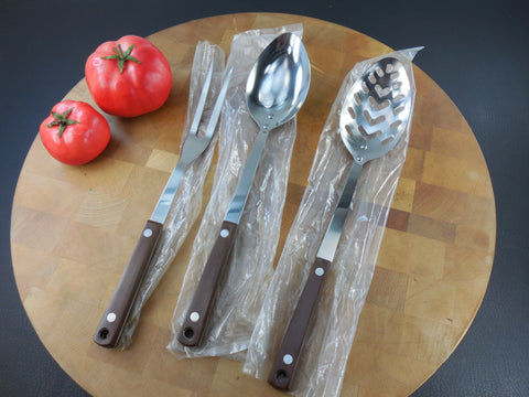Vintage NOS Mid Century Pyramid Japan Kitchen Utensils - Fork, Solid & Slotted Spoon -