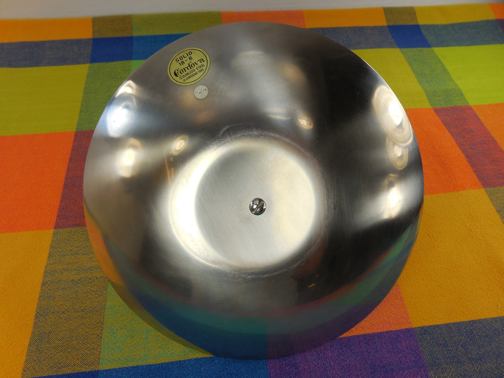 Vintage Cordova 1969 Stainless Steel Tidbit Appetiser Dessert Serving Tray Bottom View