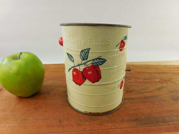 Vintage Bromwell's 3 Cup Tin Flour Sifter Red Apples and Wood Handle