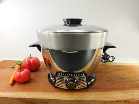 SOLD Westinghouse 1950s Chrome Cook-N-Fryer - Electric Deep Fryer All-in-One Cooker Appliance - Model FF-531