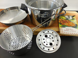 SOLD... West Bend Electric Fryer Roaster Server - 8 in 1 Chrome Appliance with Manual - Vintage 1950s Mid Century