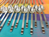 Sold... Stanley Roberts Japan- CROSSPOINT- Mid Century Stainless Steel Flatware - 32 Pieces Brown Band