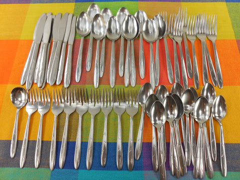 "SOLD.... Sohnaco Japan Mid Century Stainless Flatware - Atomic Starburst Type ""Divider"" Pattern - 52 Pieces"