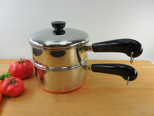 SOLD Revere Ware - 2 Qt Quart Saucepan - Pot with Lid & Steamer Insert - 1993 Clinton, Ill. - Vintage Stainless Copper Clad
