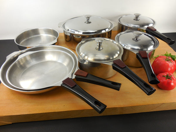 SOLD Triplinox France Cookware 7 Piece Set - Saucepans Saucier Skillets Dutch Oven - Stainless Steel