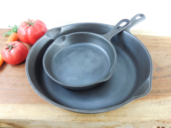 SOLD... Wagner Ware Sidney O - Two Cast Iron Fry Pan Skillets - #8 #3 1058 1053 - Cleaned
