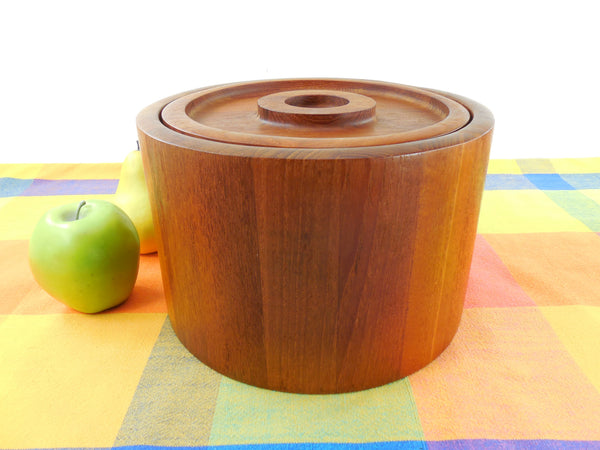Vintage Dansk International Staved Teak Round Ice Bucket