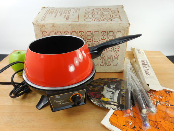 SOLD... Sears 1972 Electric Red Fondue Pot Set with Original Box