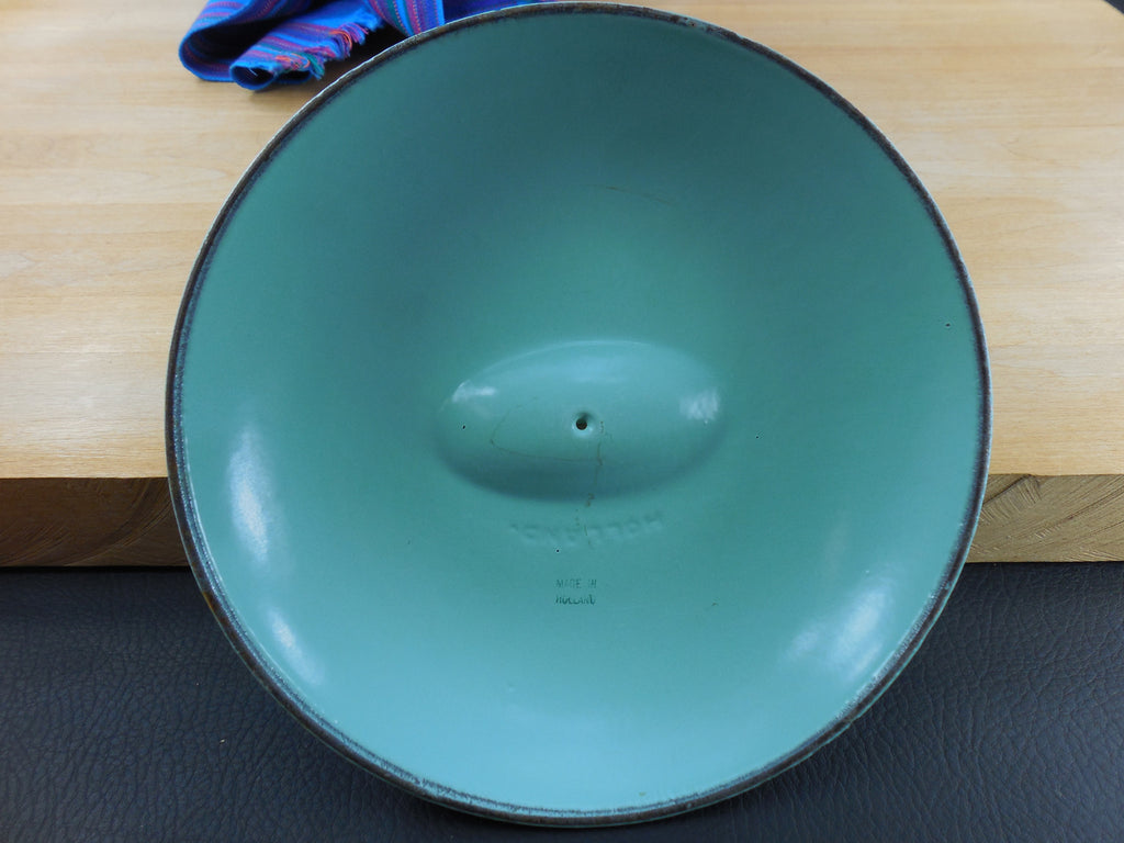 Vintage Dru Holland Cast Iron Enamel Replacement Lid - Back View