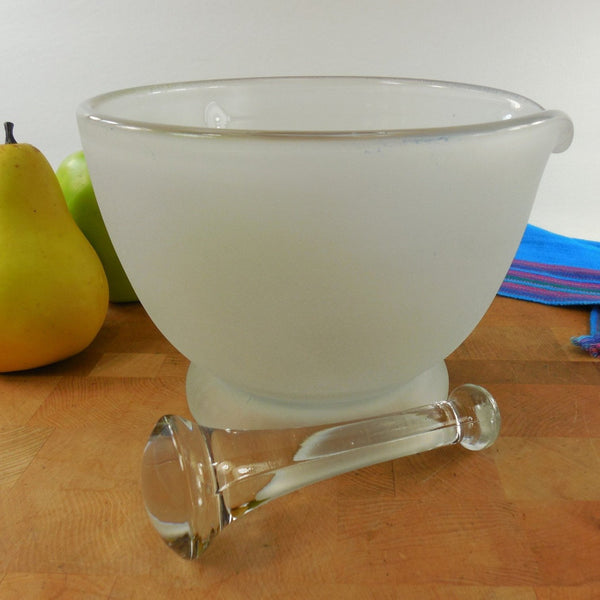 Vintage Frosted Glass 32 Oz Mortar and #4 Pestle
