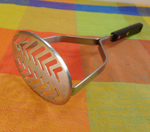 EKCO Forge USA Stainless Potato Veggie Masher Black Handle - Vintage Kitchen Utensil