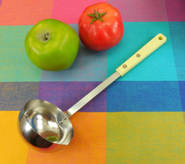 EKCO Forge Stainless Yellow Handle Ladle - Vintage Kitchen Utensil