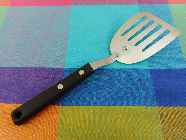 "Ekco Forge USA - Small Short 9.5"" Stainless Slotted Spatula... Black Handle"