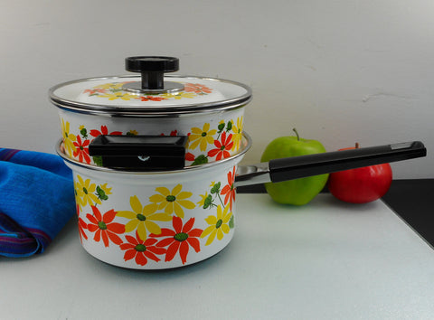EKCO Country Garden Enamelware 2 Qt. Saucepan Double Boiler Set - Mod Orange Yellow Daisy Flowers