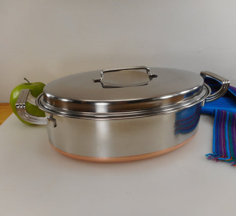 "Eckoware 1955 Cookware Stainless Steel Thick Copper Clad - 12"" Deep Covered Oval Casserole Roaster"