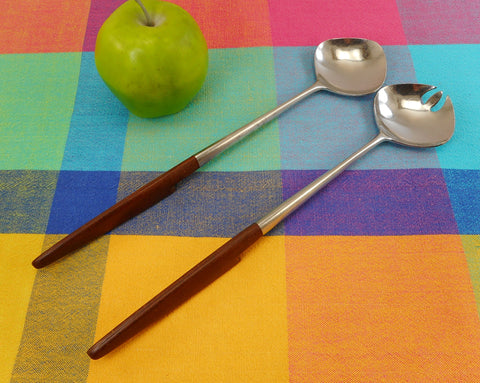 SOLD.... Ekco Eterna Brown Canoe Muffin Stainless Steel Large Salad Server Set