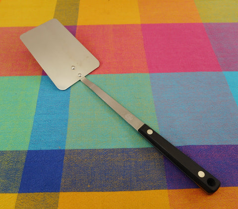 Ekco Vanadium Stainless Long Spatula - Black Handle - Vintage Kitchen Utensil