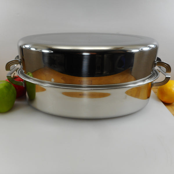 Ekco Flint 1968 Mirror Stainless Steel Large Covered Roaster